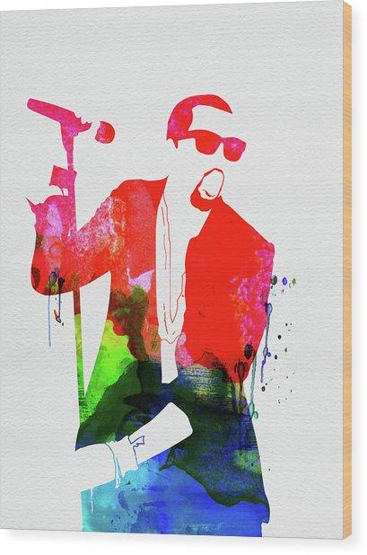 Kanye Watercolor Wood Print