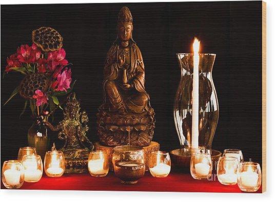 Kanzeon Bosatsu - Zen Altar Wood Print