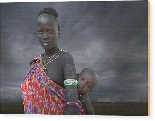 Karo Tribe  Woman With Child Wood Print by Buena Vista Images