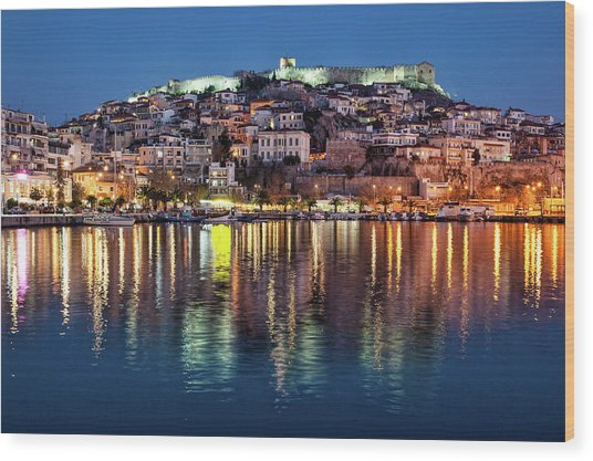 Kavala Town At Night Wood Print