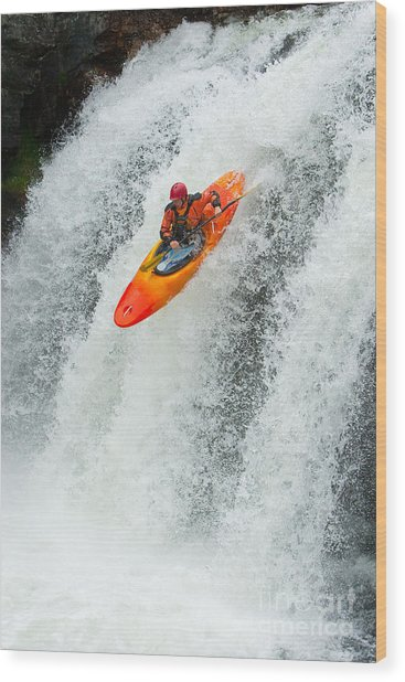 Kayaker Jumping From A Waterfall Wood Print