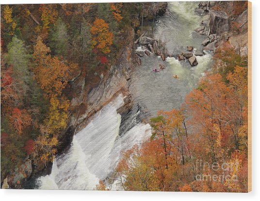 Kayakers Contemplate Going Down A Rapid Wood Print