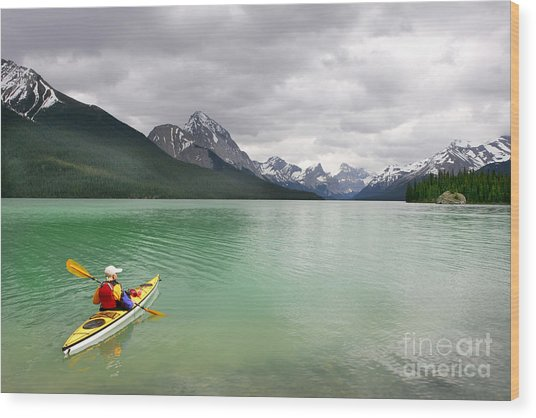 Kayaking In Banff National Park, Canada Wood Print by Oksana.perkins