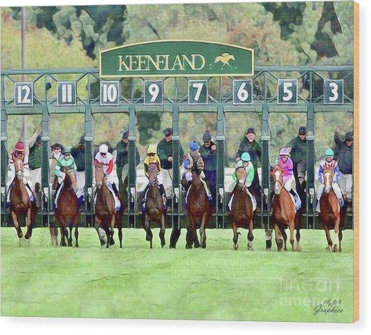 Keeneland Starting Gate Wood Print