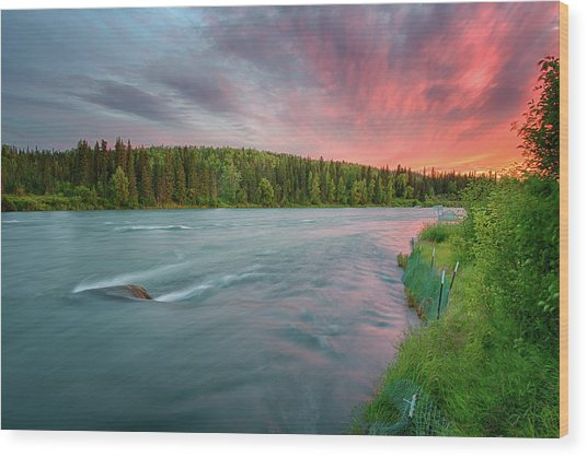 Kenai River Alaska Sunset Wood Print