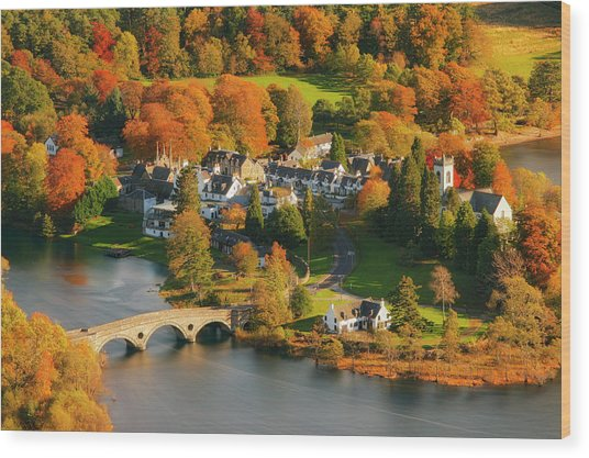 Kenmore In Autumn, Perthshire, Scotland Wood Print