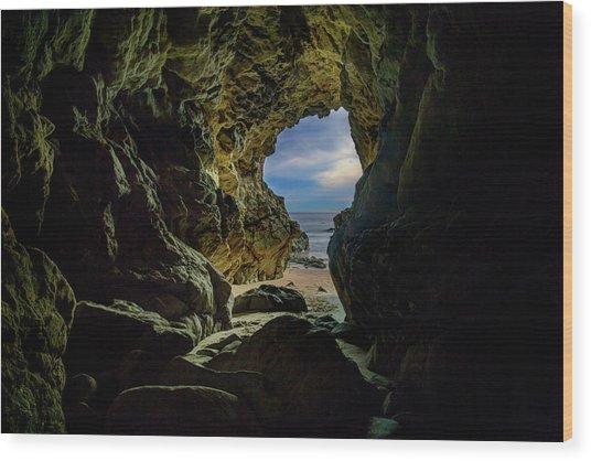 Keyhole Cave In Malibu Wood Print