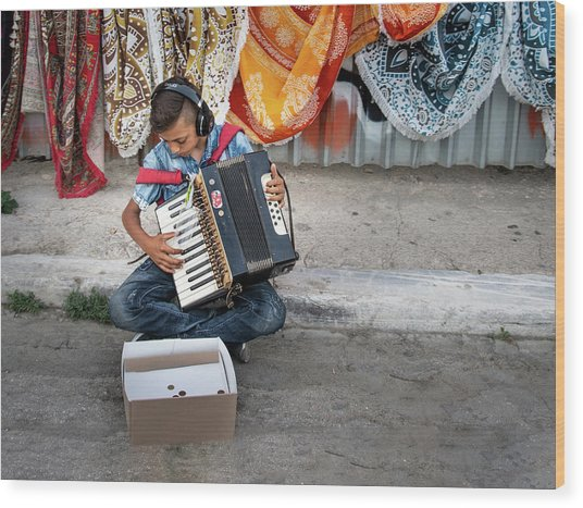 Kid Playing Accordeon Wood Print