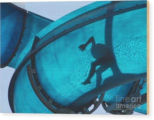 Kid Sliding A Blue Waterslide Wood Print