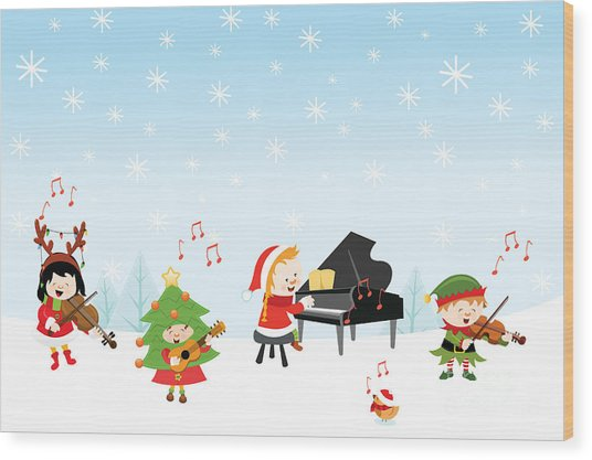 Kids Playing Christmas Songs Wood Print
