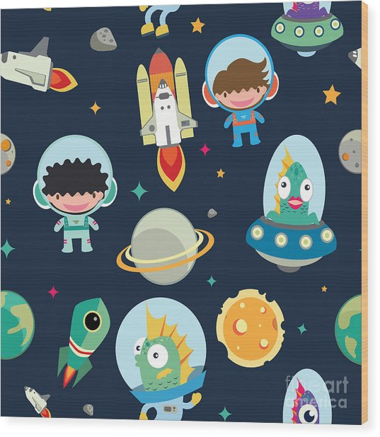 Kids Space Seamless Pattern Wood Print