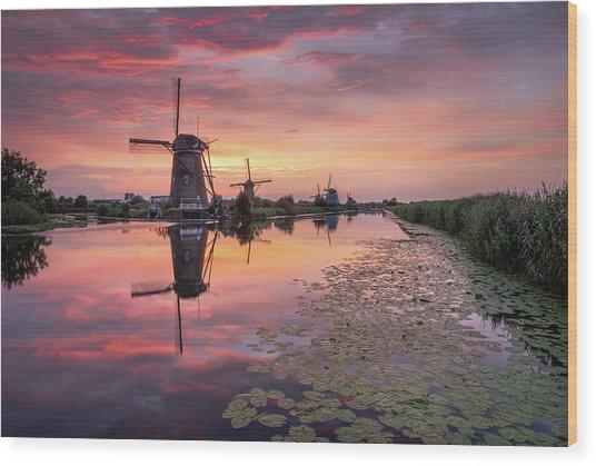 Kinderdijk Sunset Wood Print