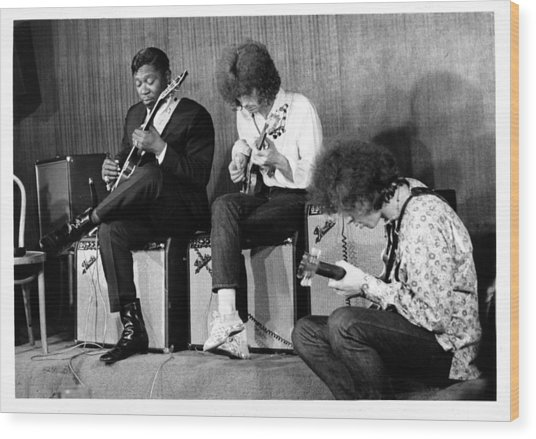 King, Clapton & Bishop Jam Wood Print by Michael Ochs Archives