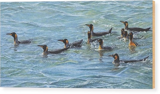 Wood Print featuring the painting King Penguins Swimming by Alan M Hunt