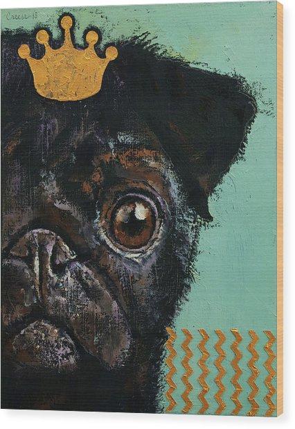 King Pug Wood Print