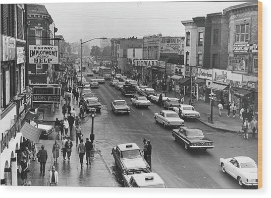 Kings Highway & East 15th St., Early Wood Print by Fred W. Mcdarrah