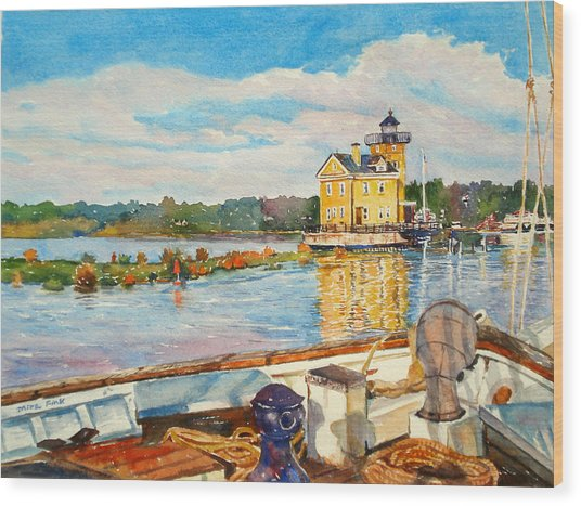 Kingston Lighthouse From The Sloop Clearwater Wood Print by Mira Fink