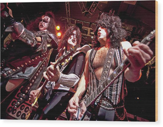 Kiss Perform At The O2 Islington Wood Print by Neil Lupin