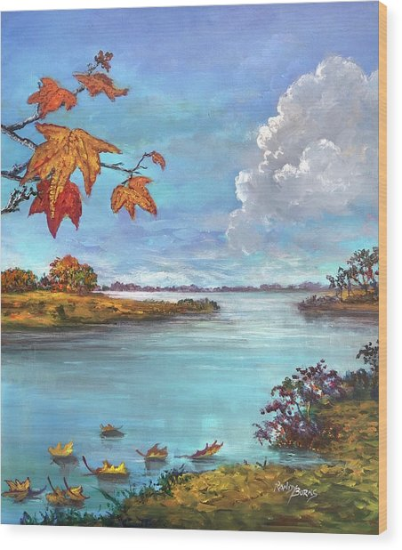 Kites, Clouds And Sailboats Wood Print