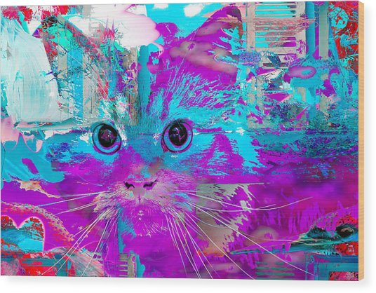 Kitty Collage Blue Wood Print