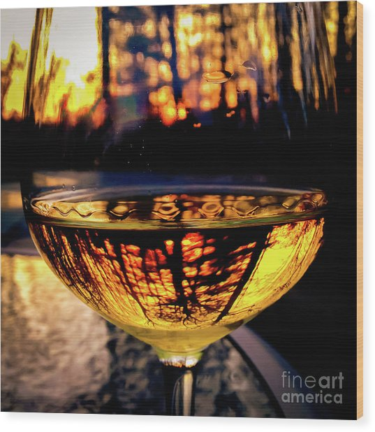 Wood Print featuring the photograph Sunset In A Glass by Atousa Raissyan