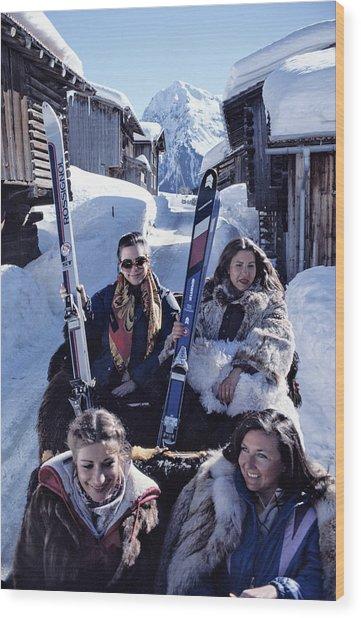 Klosters Skiing Wood Print by Slim Aarons
