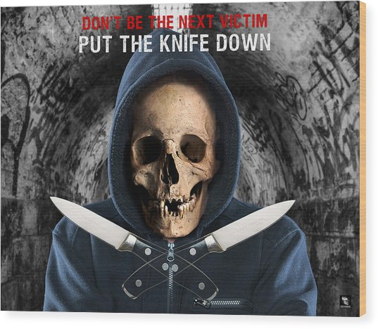 Wood Print featuring the digital art Knife Crime Part 2 - The Next Victim by ISAW Company
