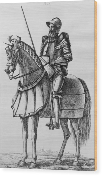Knight In Armour Wood Print by Hulton Archive