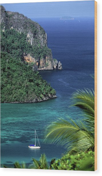 Ko Phi Phi Don, Yacht At Anchor Wood Print by John Seaton Callahan