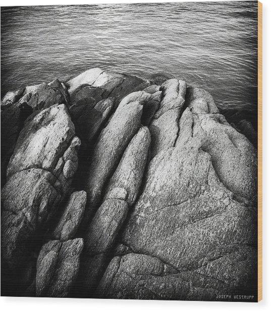 Ko Samet Rocks In Black Wood Print