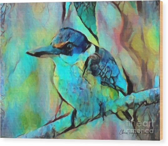 Kookaburra Blues Wood Print