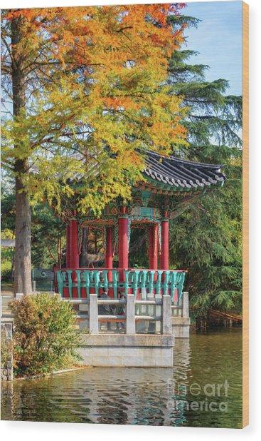 Korean Garden In Autumn Wood Print