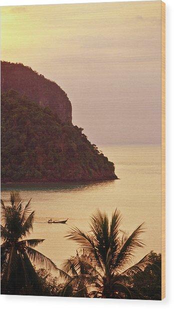 Krabi Province, Ko Phi Phi Don, Sunset Wood Print by John Seaton Callahan