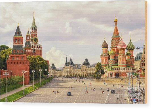 Kremlin And St Basils Cathedral On The Wood Print