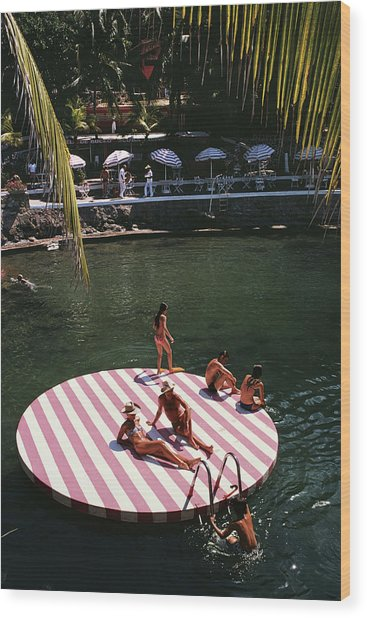La Concha Beach Club Wood Print by Slim Aarons