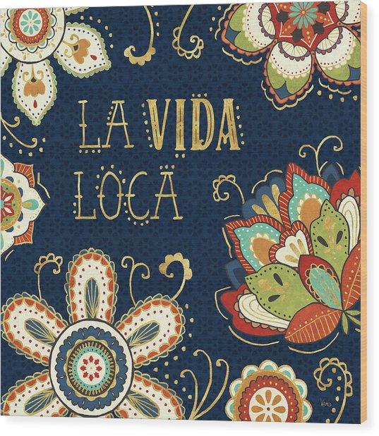 La Vida Loca II Blue Wood Print by Veronique Charron
