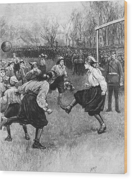 Ladies Football Wood Print by Rischgitz