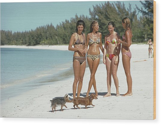 Ladies Of Lyford Cay Wood Print by Slim Aarons