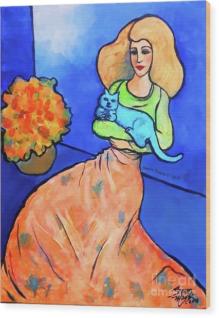 Lady With Blue Cat Wood Print