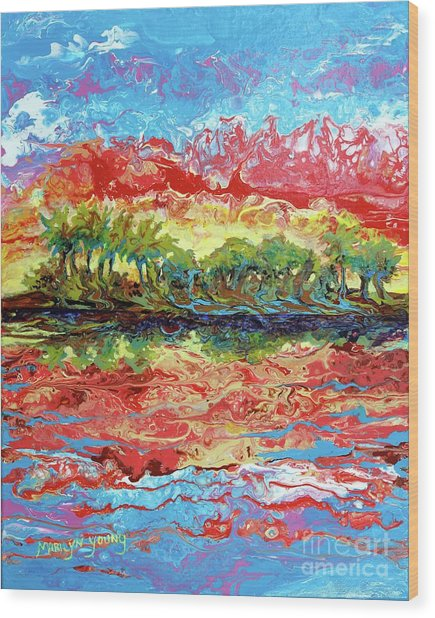 Lagoon Sunset Wood Print