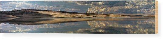 Lake Abert Panoramic Wood Print by Leland D Howard