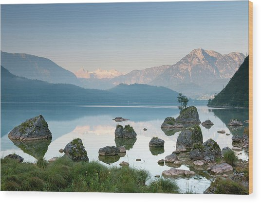 Lake Altaussee With Glacier Dachstein Wood Print by 4fr