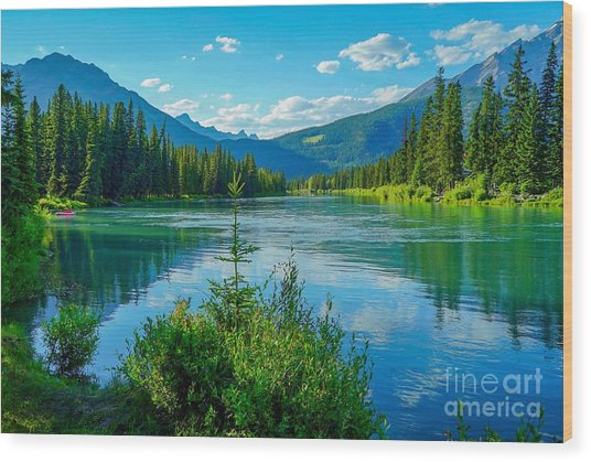Lake At Banff Indian Trading Post Wood Print