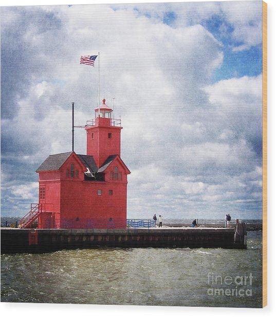 Lake Michigan Light House Wood Print