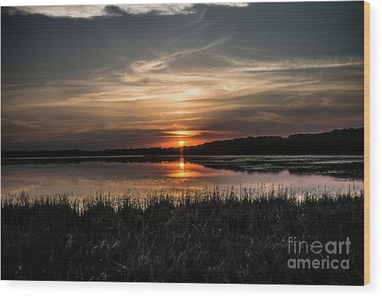 Lake Orrock Sunset Wood Print