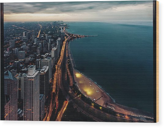 Lake Shore Drive At Twilight Wood Print