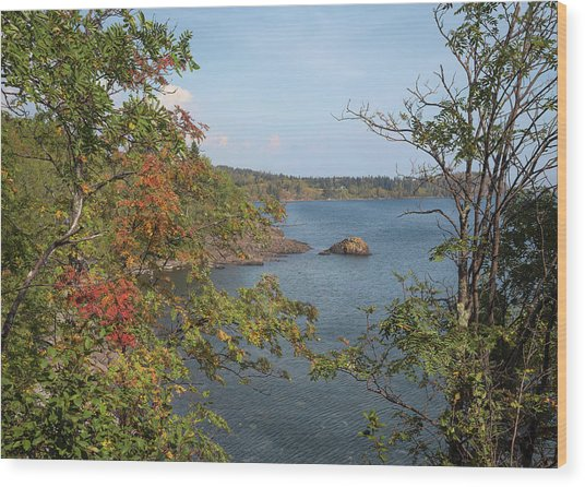 Lake Superior Autumn Wood Print