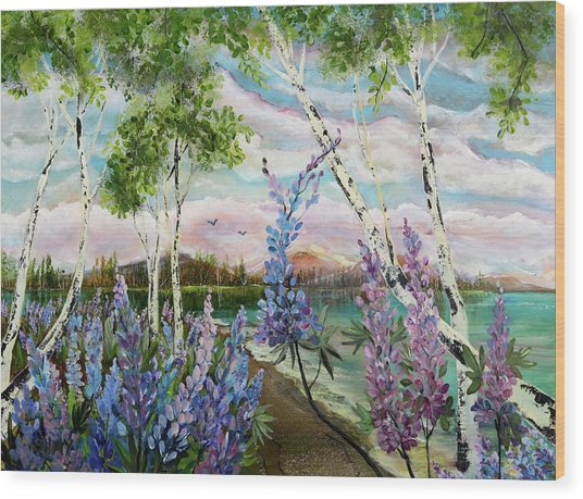Lakeside Lupin Wood Print