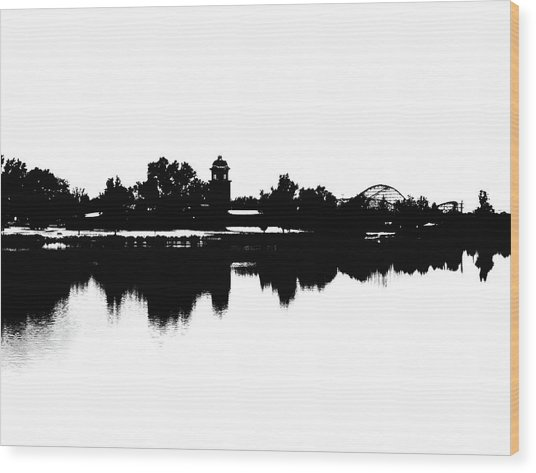 Lakeside Silhouette Wood Print