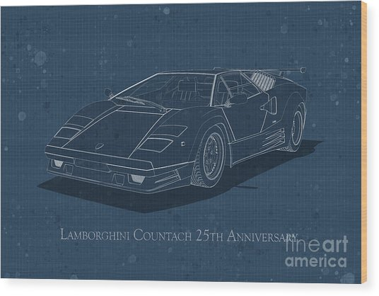Lamborghini Countach 25th Anniversary - Front View - Stained Blu Wood Print